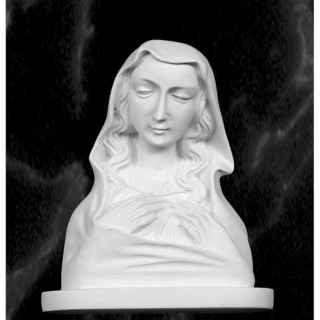 Our Lady, reconstituted carrara marble made bust, 20 cm 4