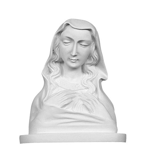 Our Lady, reconstituted carrara marble made bust, 20 cm 2