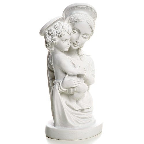 Our Lady with Child bust in reconstituted marble, 22 cm 3