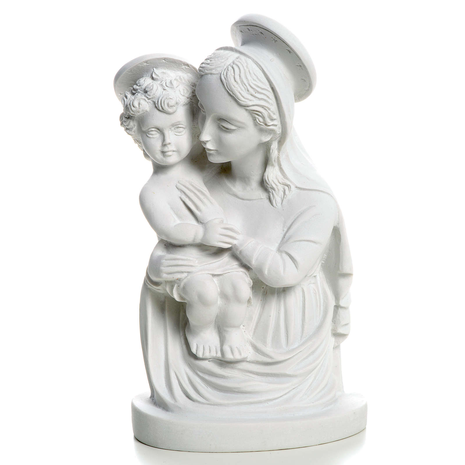 Our Lady with Child bust in reconstituted marble, 22 cm 4