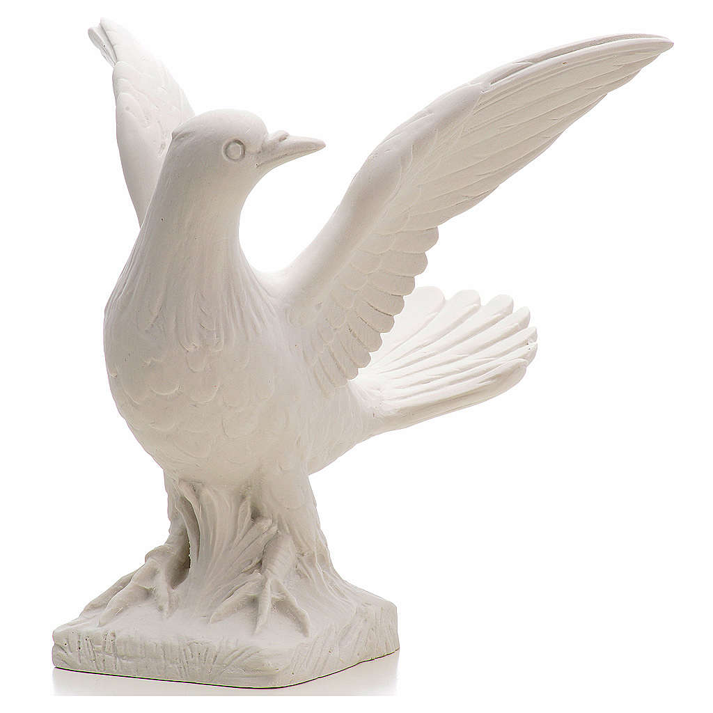 Dove with open wings statue in composite marble, 25 cm 4