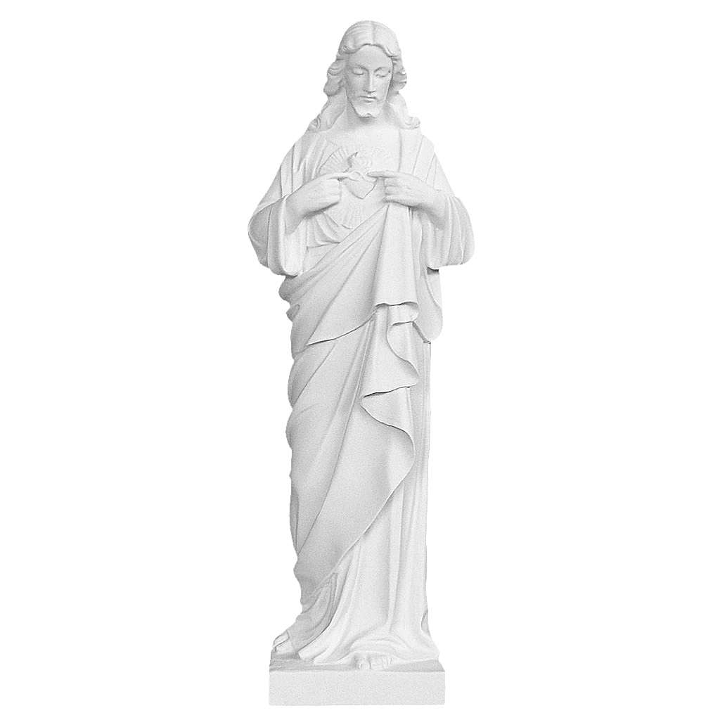 Sacred Heart of Jesus bas-relief in marble 60-80 cm 3