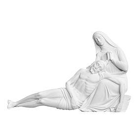 Pietà Michelangelo 18 cm rilievo marmo bianco s1