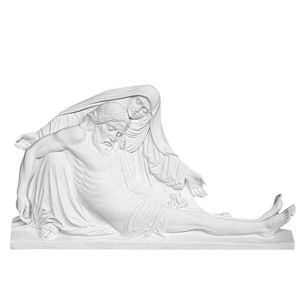 Bas relief Pietà de Michel-Ange 50 cm marbre blanc 3