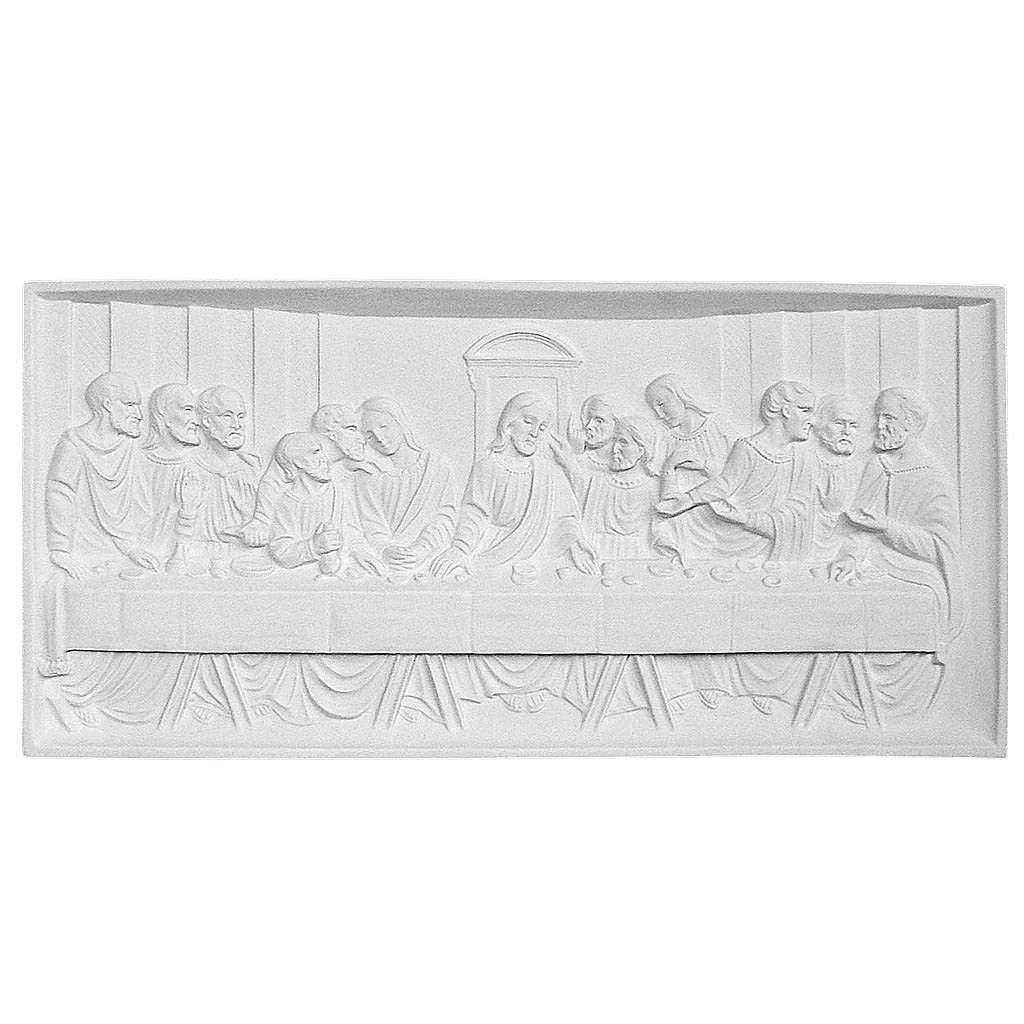 Last Supper 35x73 cm reconstituted marble bas-relief 3