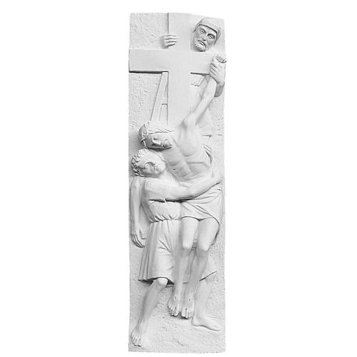 Descent From the Cross bas-relief, reconstituted marble 55x16 cm 1