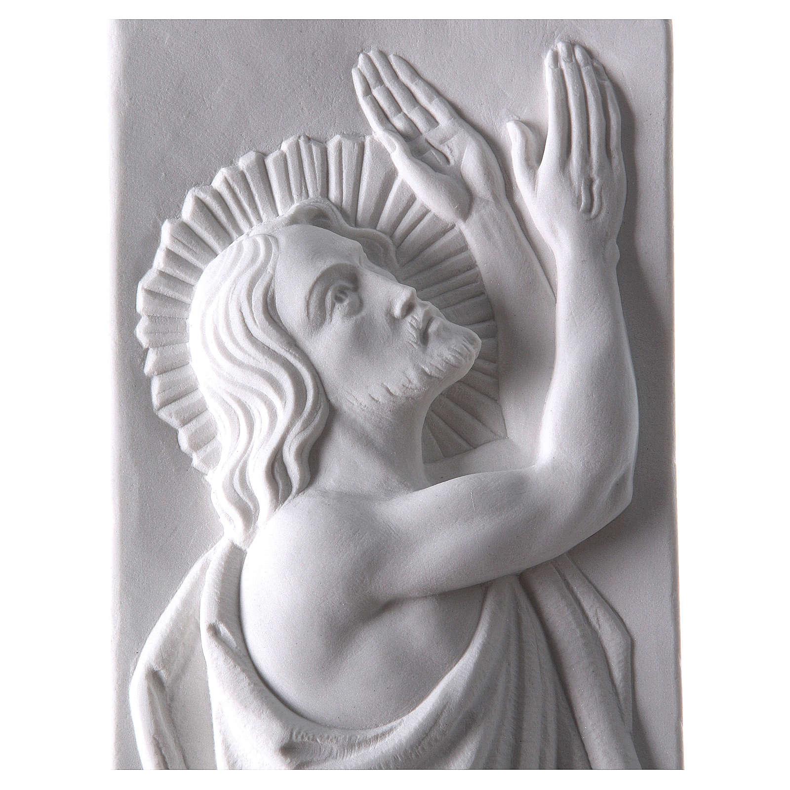 Bas relief Christ ressuscité marbre 55x16 cm 3