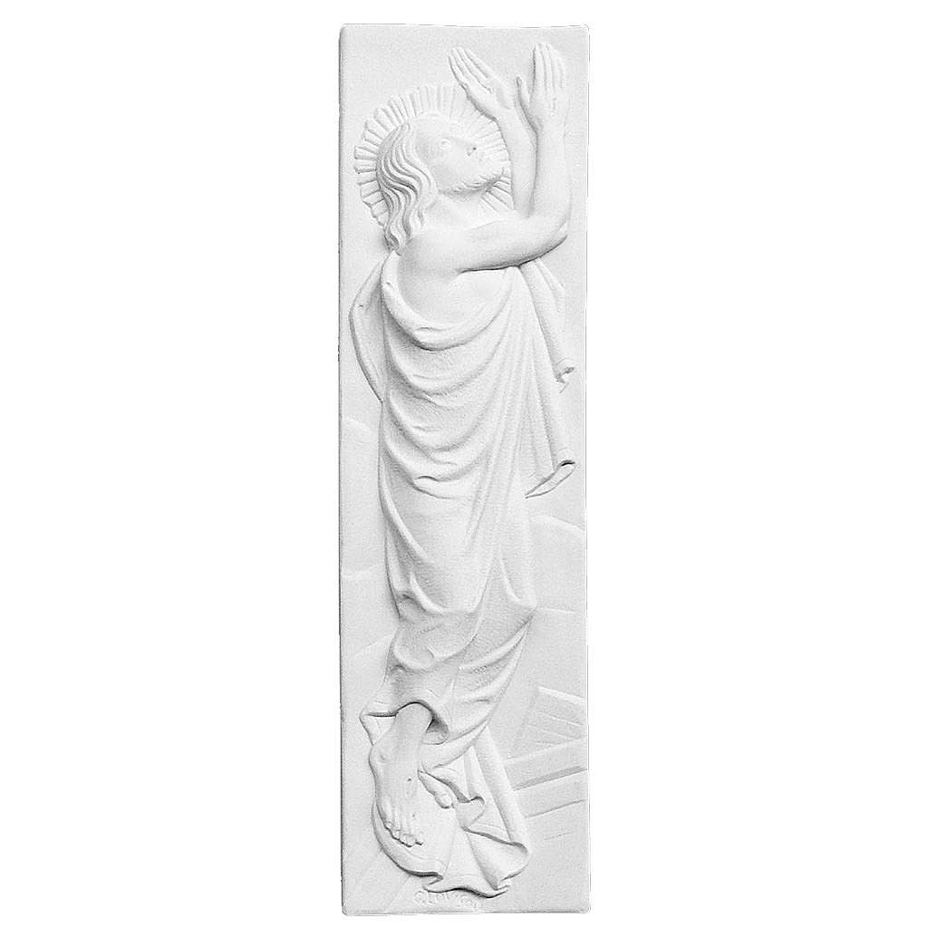 Risen Christ, 55x16 cm reconstituted marble bas-relief 3