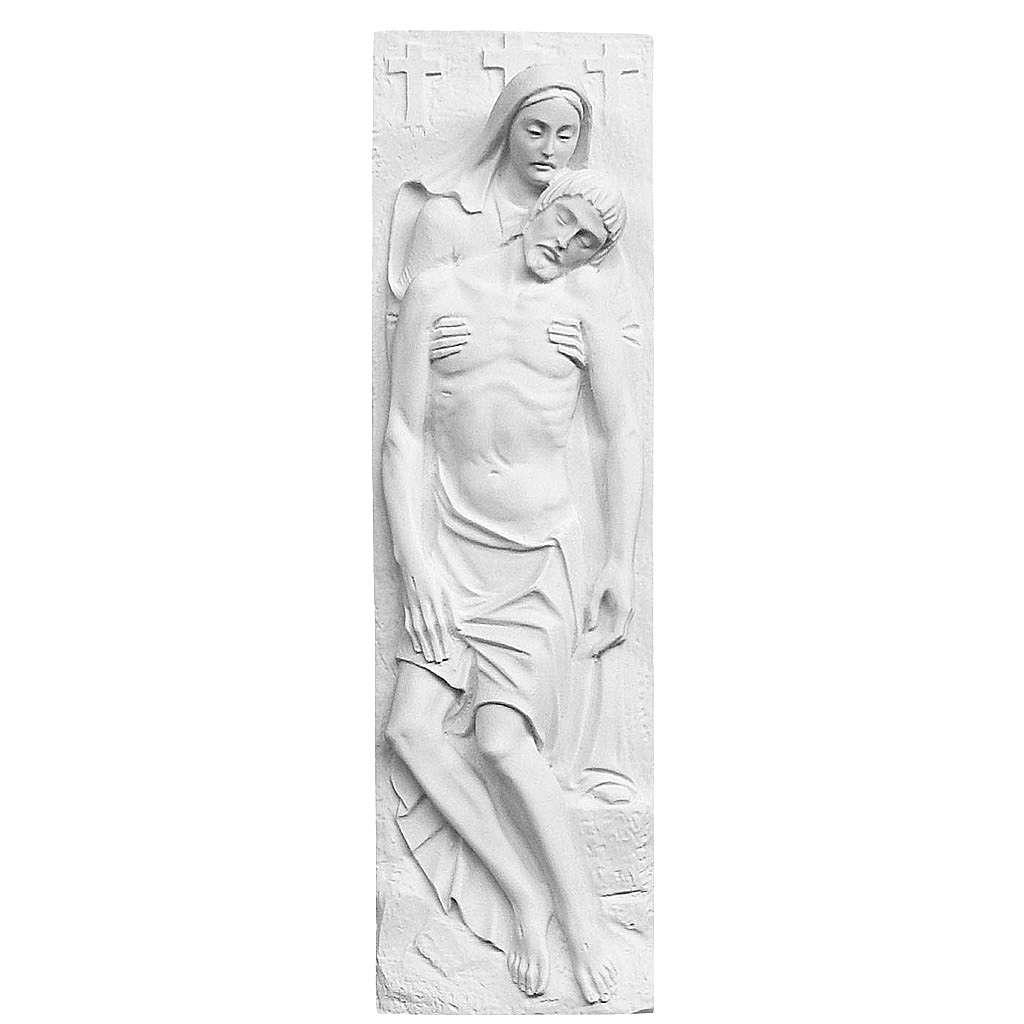 Bas relief Pietà de Michel-Ange marbre 55x16 cm 3