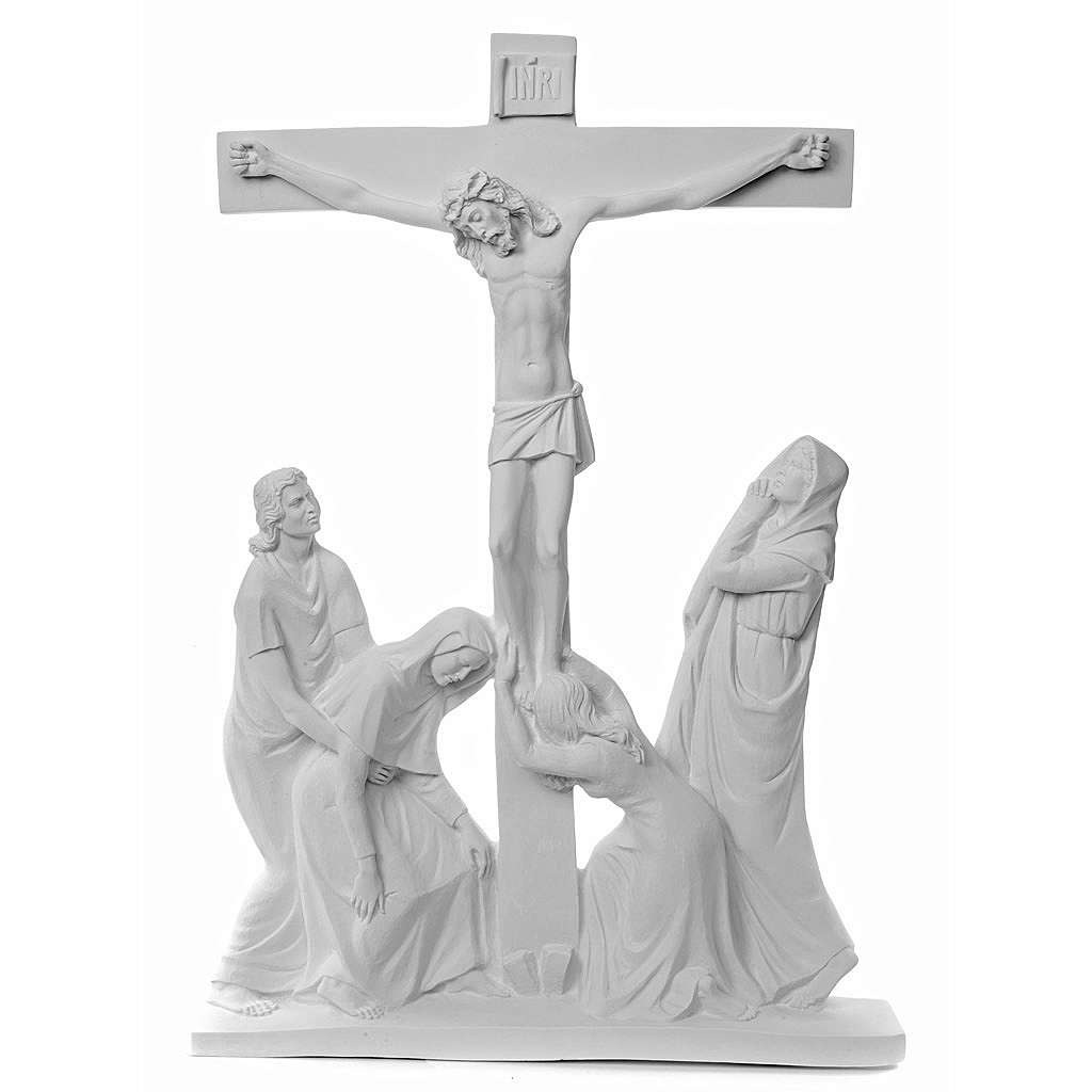 Crucifixion Scene bas-relief in reconstituted carrara marble 3