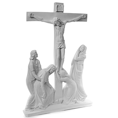 Crucifixion Scene bas-relief in reconstituted carrara marble 2
