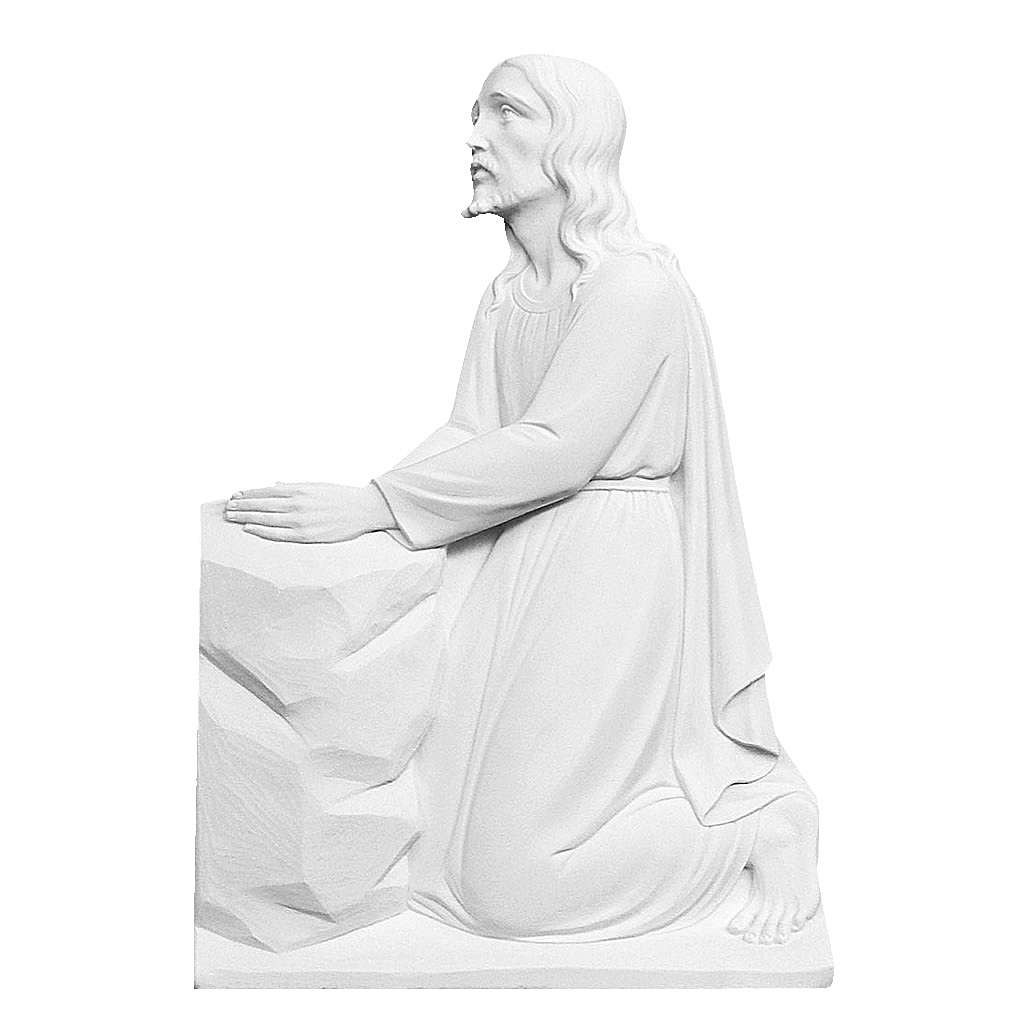 Christ on his knees, 47 cm reconstituted marble bas-relief 3