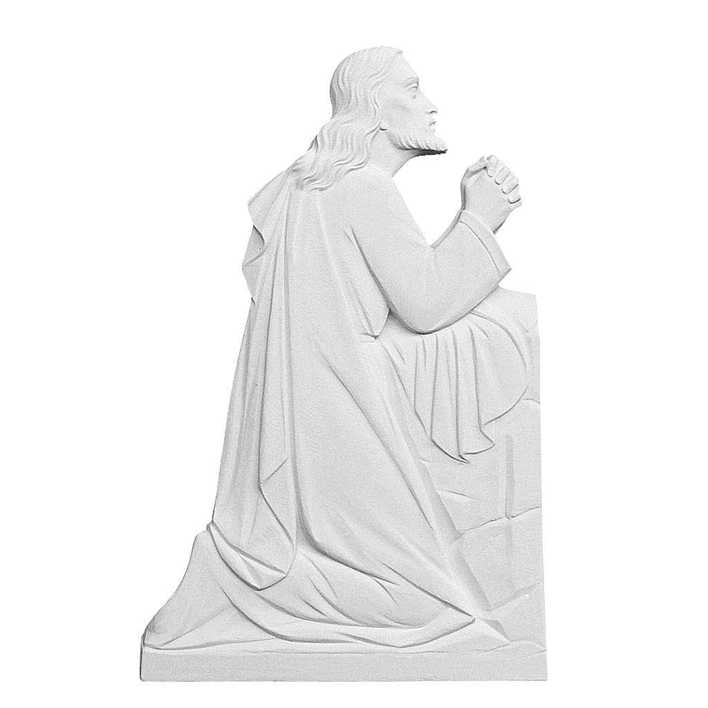 Christ en prière relief en marbre reconstitué 46cm 3
