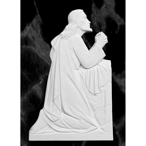 Christ en prière relief en marbre reconstitué 46cm 1