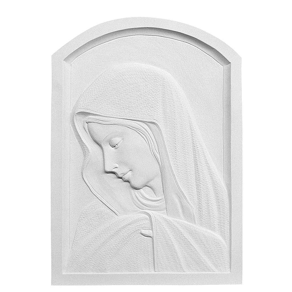 Bas relief Vierge Marie en marbre reconstitué 45 cm 3
