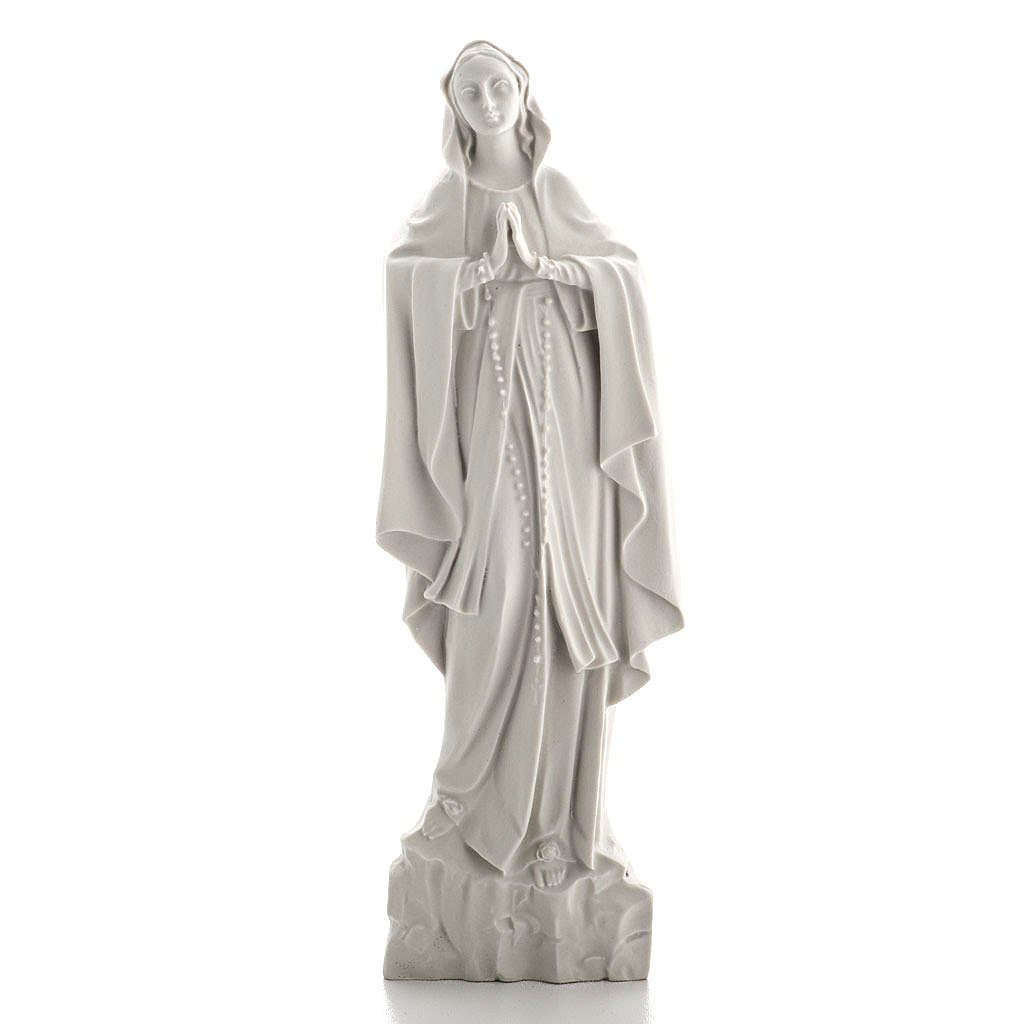 Our Lady of Lourdes bas-relief in reconstituted marble, 42 cm 3