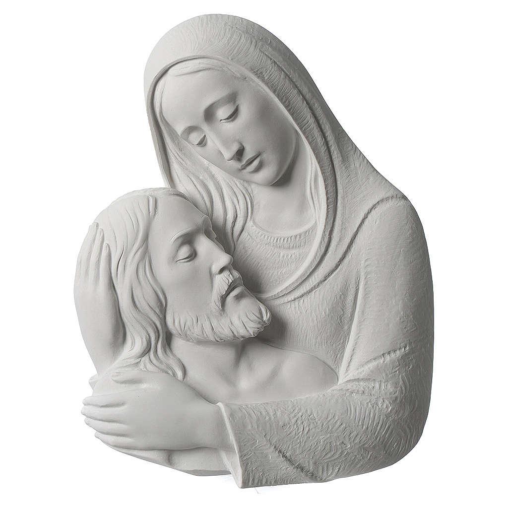 Pietà in primo piano rilievo in marmo sintetico 23-35 cm 3