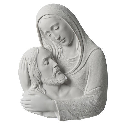 Pietà in primo piano rilievo in marmo sintetico 23-35 cm 1