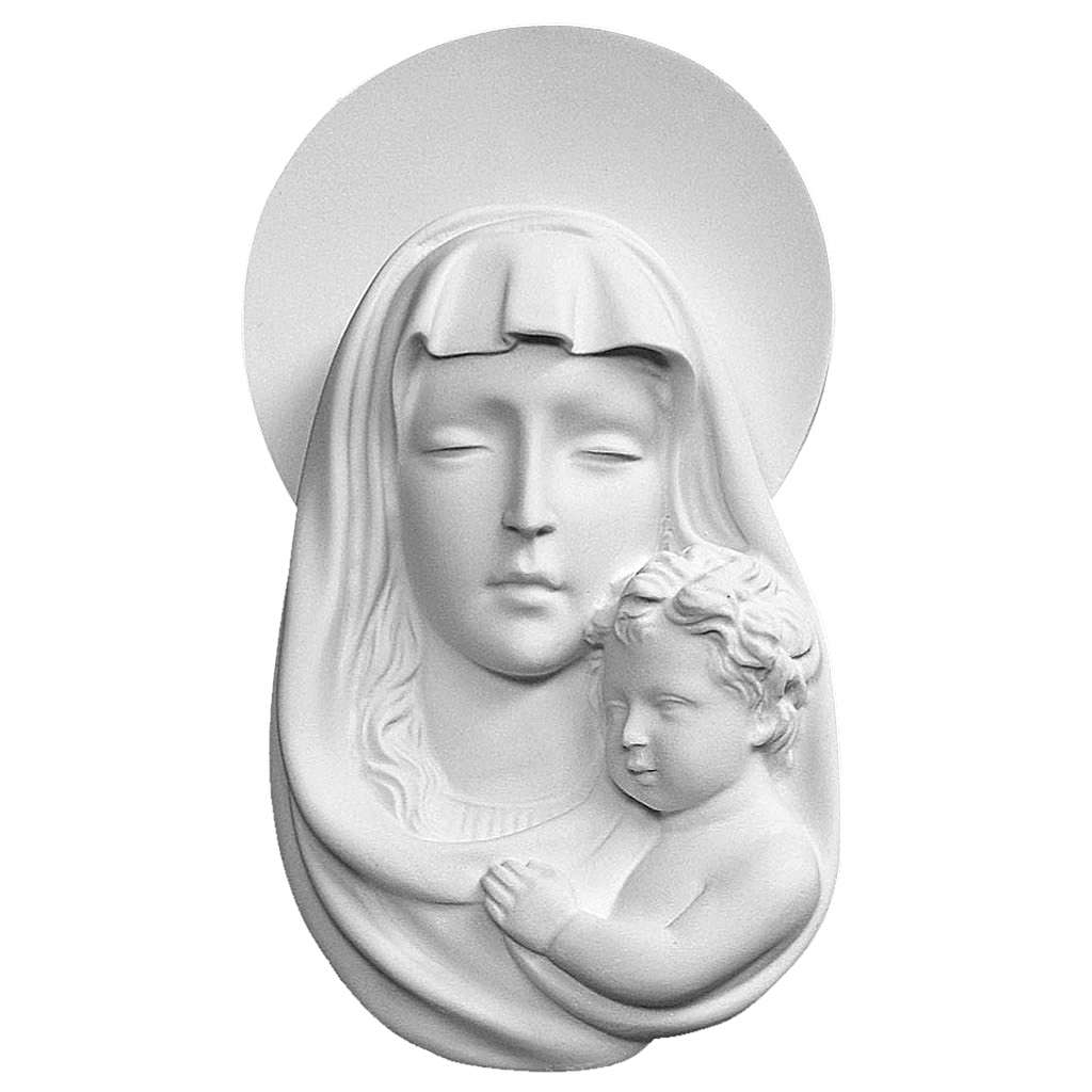 Our Lady of with child bas-relief in reconstituted marble, 25 cm 3