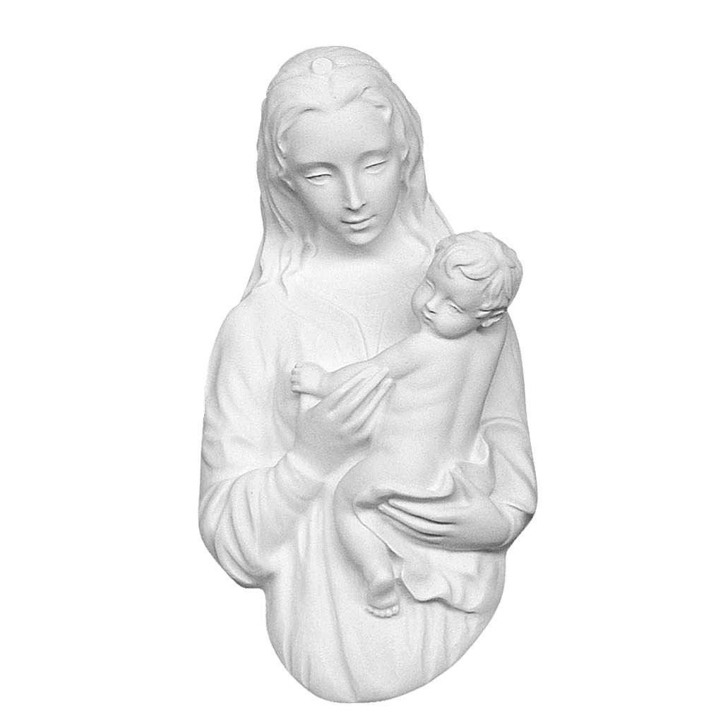 Virgen con el niño 22 cm en relieve, mármol blanco 3