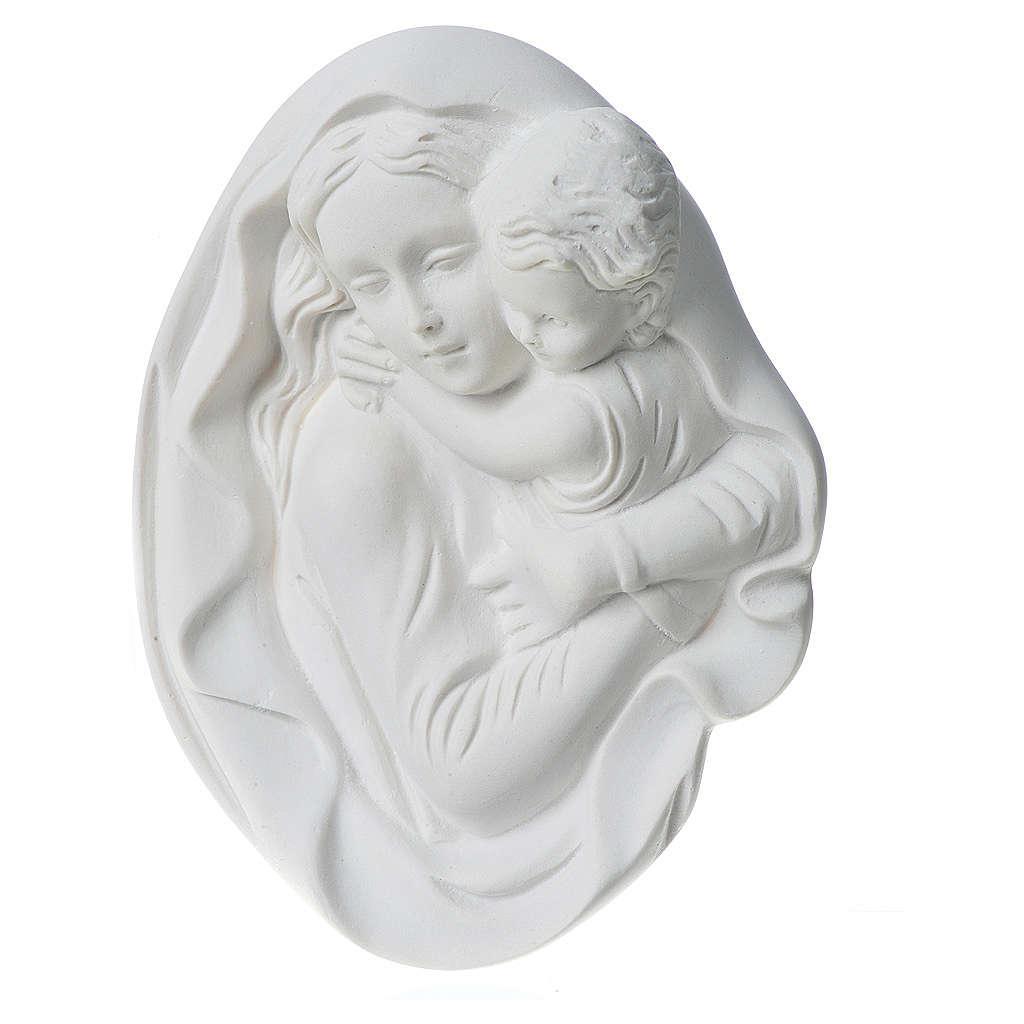 Vierge à l'enfant 18 cm bas relief poudre de marbre 3