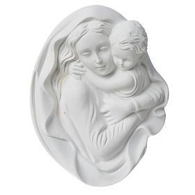 Vierge à l'enfant 18 cm bas relief poudre de marbre s6