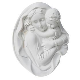 Vierge à l'enfant 18 cm bas relief poudre de marbre s2