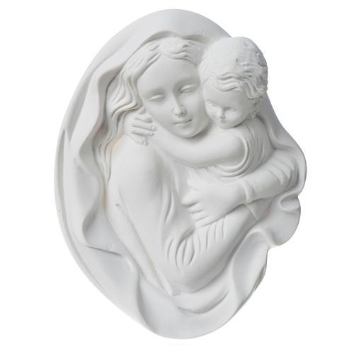 Vierge à l'enfant 18 cm bas relief poudre de marbre 6
