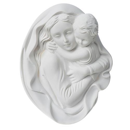Vierge à l'enfant 18 cm bas relief poudre de marbre 2