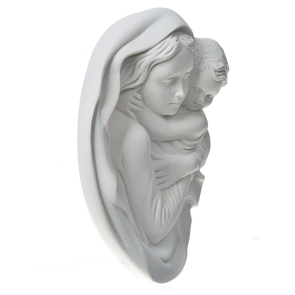 Madonna z Dzieciątkiem 18 cm relief proszek z marmuru 3