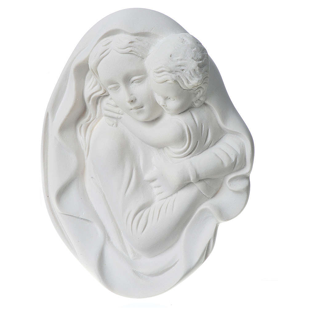 Our Lady with child bas-relief in reconstituted marble, 18 cm 3