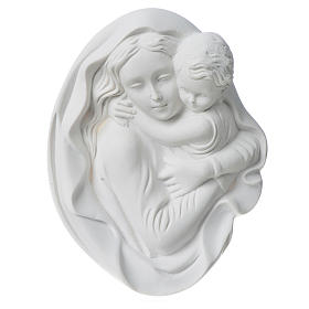 Our Lady with child bas-relief in reconstituted marble, 18 cm s1
