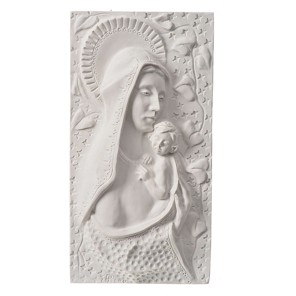 Our Lady with child, 30 cm bas-relief in reconstituted marble 3