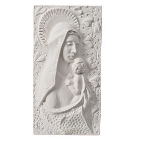 Our Lady with child, 30 cm bas-relief in reconstituted marble s1