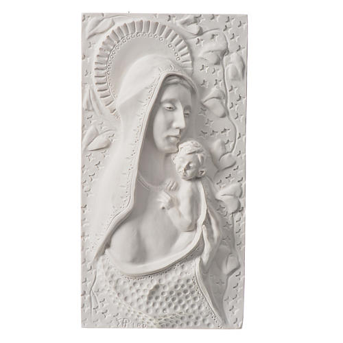 Our Lady with child, 30 cm bas-relief in reconstituted marble 1