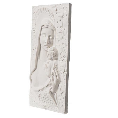 Our Lady with child, 30 cm bas-relief in reconstituted marble 2