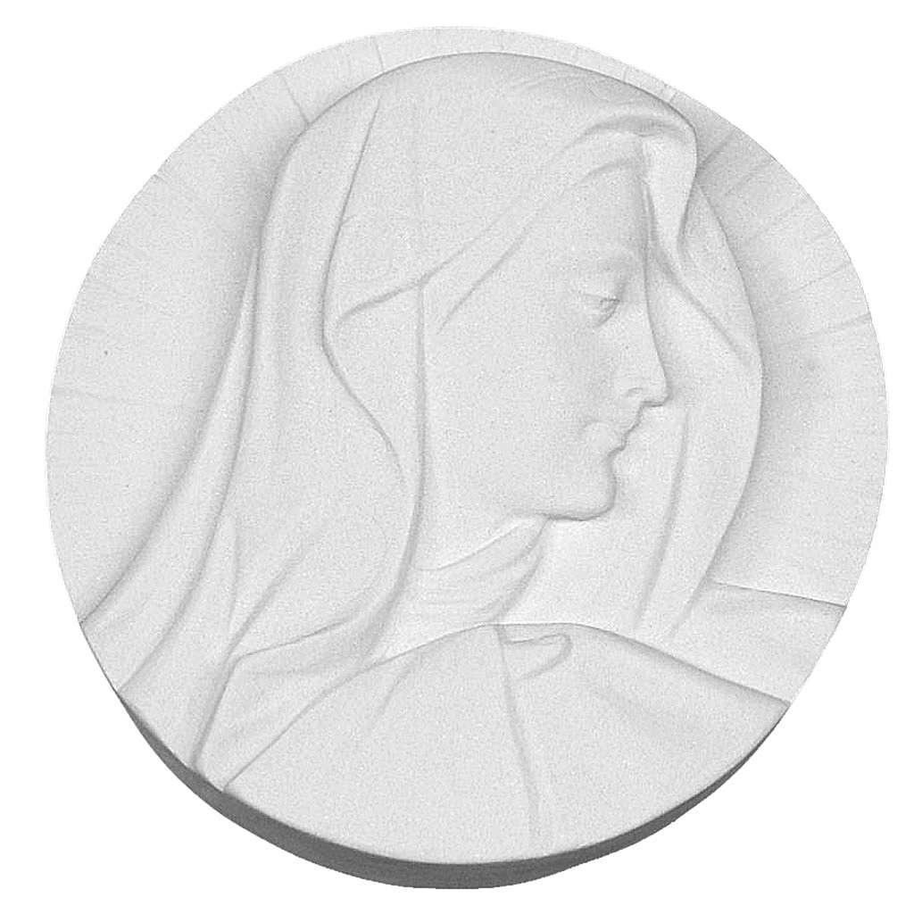 Bas relief tête de la Vierge marbre 14-19 cm 3
