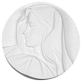 Our Lady's Face bas-relief in reconstituted marble, round shape 14-19 cm s1