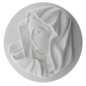 Volto Madonna del dito 14 cm tondo marmo s1