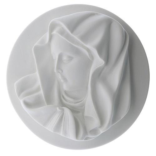 Volto Madonna del dito 14 cm tondo marmo 1