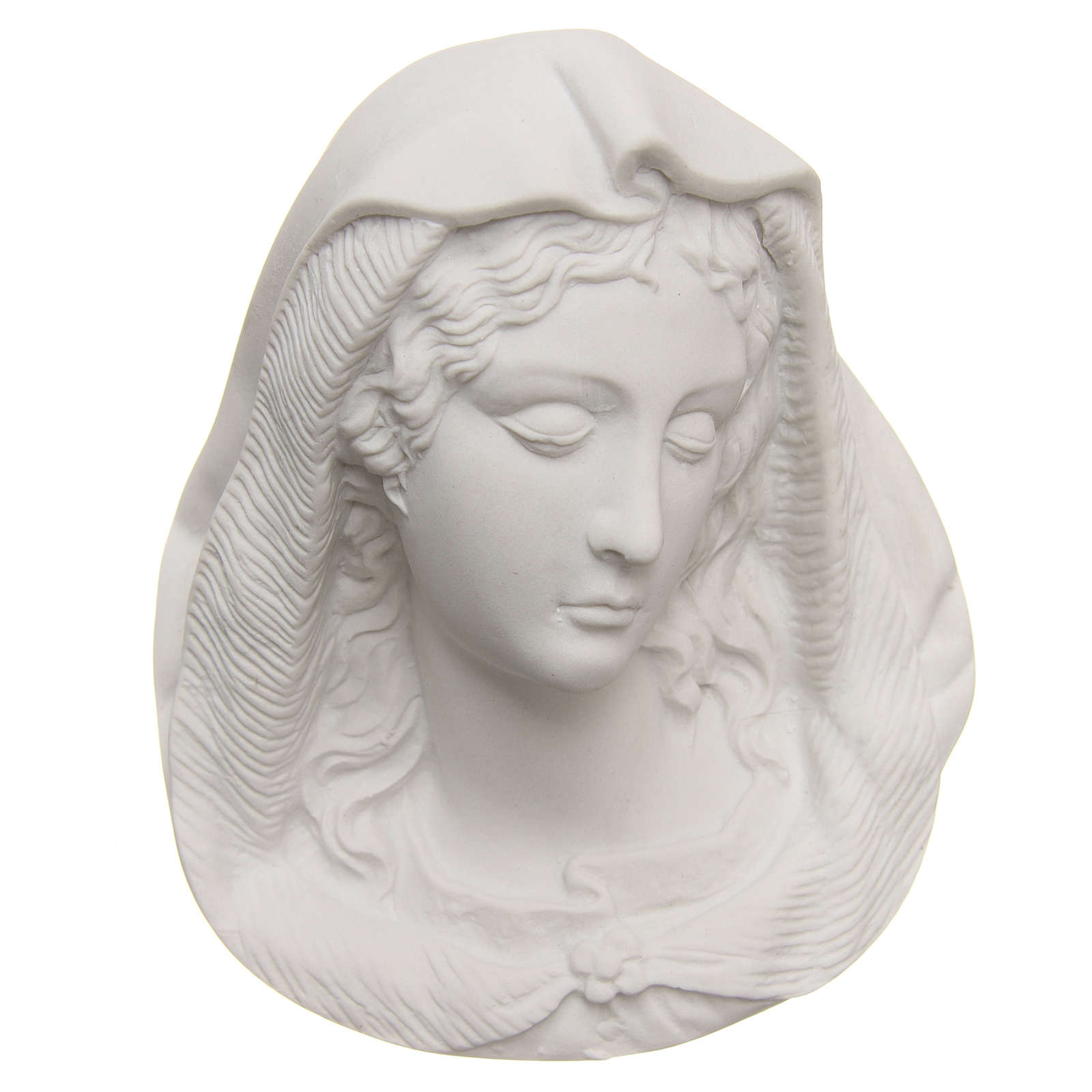 Our Lady's face in reconstituted carrara marble, 13 cm 3
