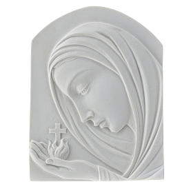Our Lady with cross, 22 cm bas-relief in reconstituted marble s1