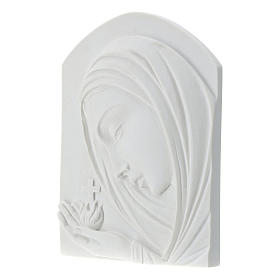Our Lady with cross, 22 cm bas-relief in reconstituted marble s3