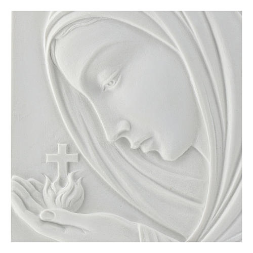 Our Lady with cross, 22 cm bas-relief in reconstituted marble 2