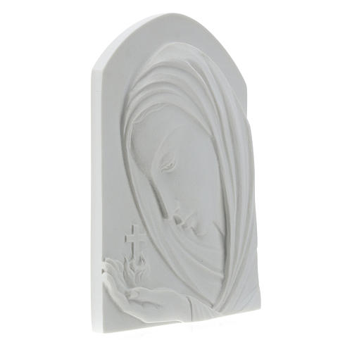 Our Lady with cross, 22 cm bas-relief in reconstituted marble 4