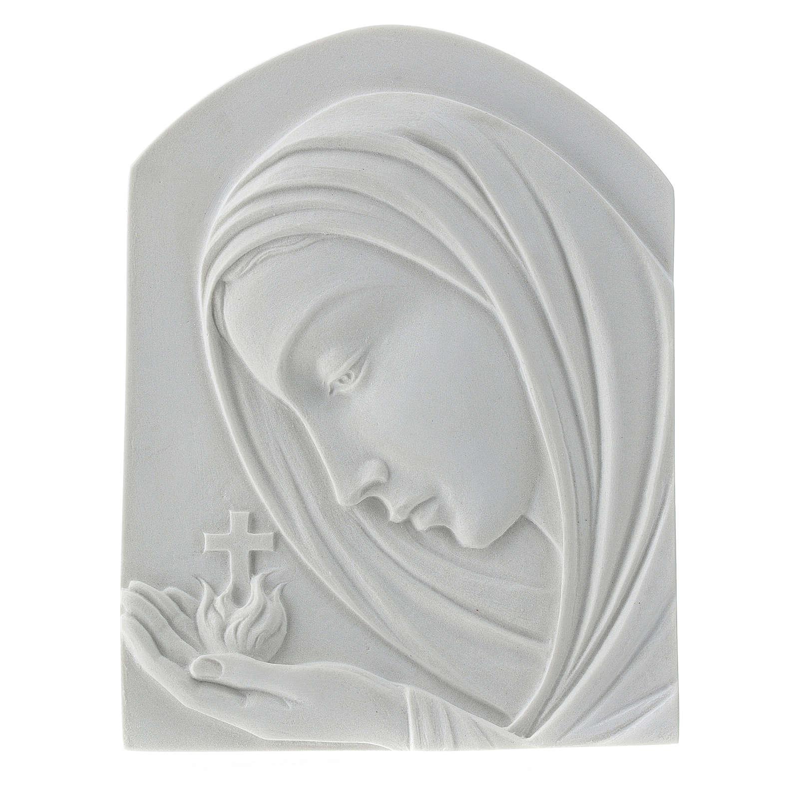 Virgen con la cruz de 22cm mármol sintético 3