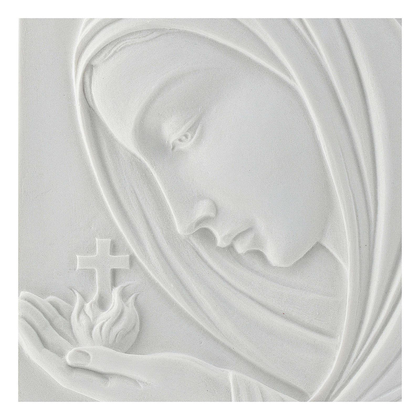 Madonna con croce 22 cm rilievo marmo sintetico 3