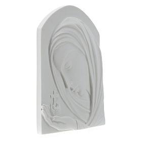 Madonna con croce 22 cm rilievo marmo sintetico s4