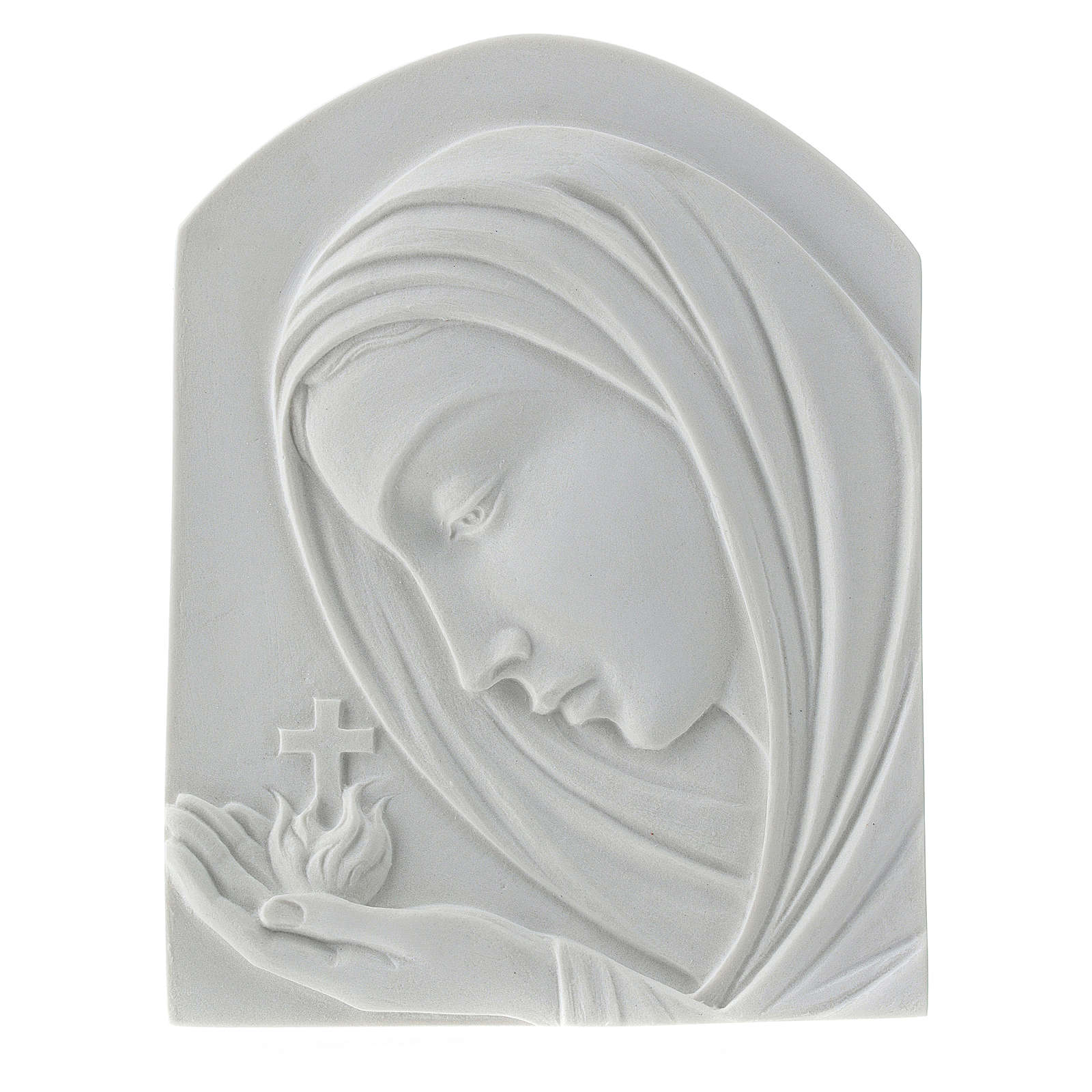 Our Lady with cross, 22 cm bas-relief in reconstituted marble 3