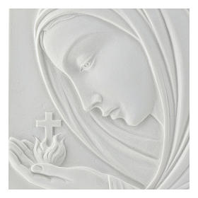 Our Lady with cross, 22 cm bas-relief in reconstituted marble s2